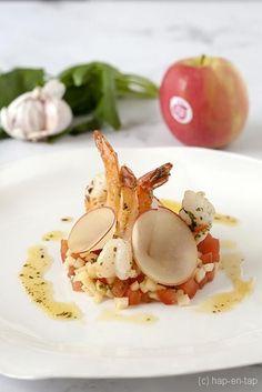Scampi's met kruidenboter, appel-tomatensalsa