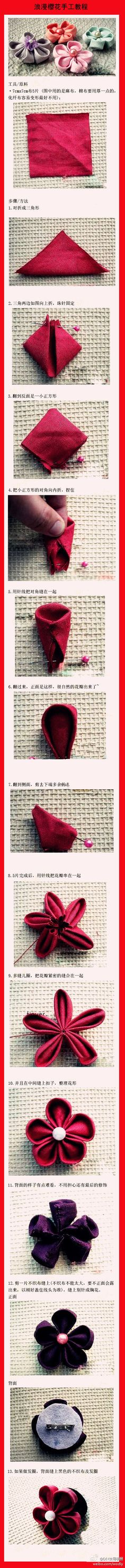 fabric flower, so cute, but can't read the directions. Probably can figure it out.