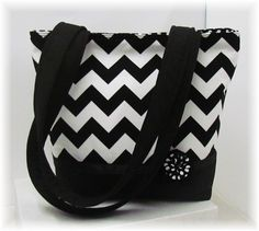 Tote/Purse Black Chevron Classy by simplynotesandtotes on Etsy