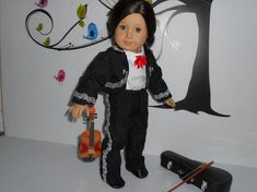Mariachi charro suit traje black gabardine with silver trim fits American Girl doll 18 in Charro Suit, Boys Suits, Ready To Play, Boy Doll, Line Jackets, American Girl, Looks Great, Dolls, Children