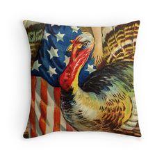 Americana Thanksgiving Throw Pillows. Restored original vintage art for americana fall / autumn decor by Meteora Digital Art.