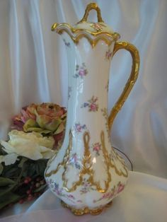 Gorgeous Art Nouveau Limoges France Chocolate Pot, Pink and White Roses, Gold, Gerard, Dufraisseix, Abbot (GDA) Circa 1900- 1941 by corrine