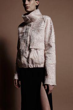 Ivory Persian Lamb Bomber jacket.... DREAMY J. Mendel Pre-Fall 2016 Fashion Show