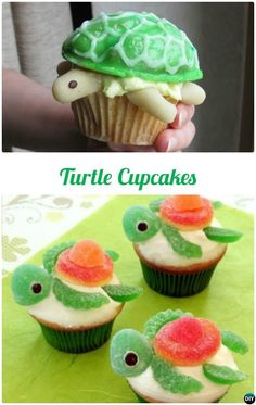 DIY Turtle Most Surprising Cupcake Decoration Ideas and Recipes desserts, 50 Most Creative Cupcake Ideas to Surprise Any Dessert Lover Cupcakes Design, Kid Cupcakes, Sea Turtle Cupcakes, Ocean Cupcakes, Watermelon Cupcakes, Summer Cupcakes, Decorated Cupcakes, Animal Cupcakes, Watermelon Carving