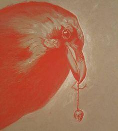 Detail shot of the raven drawing.  #doodle #illustration #prismacolor #artist #art #instagood #instagram #drawing #sketching #sketch #artofchasehenson #red #orange #skull #animal #bird