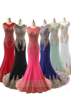 Exotic Mermaid Jewel Neck Satin Long Evening Dress With Lace Embroidery #wedding #prom #evening #party #dress
