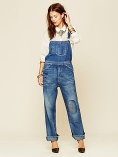 Free People Levis Overall, $385.00 ........ really cute inspiration for patch stitching embroidery (overhalls are a pretty common find at Goodwill for $10)