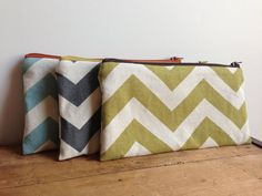 Green Chevron Pencil Case Sage Green Cosmetic Pouch by zakkastudio, $12.00