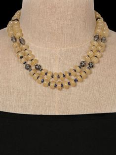 Citrine and Lapis Lazuli Double Strand Necklace