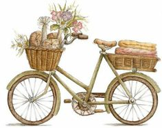 Bicycle with flowers and bread in the baskets
