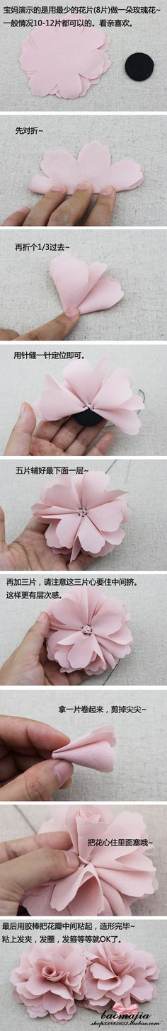 DIY Fabric roses.  Can't read the directions, I'll give it my best shot!