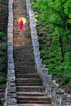Ladder of heaven. by Myo Min Kywe, Burma/Myanmar Myanmar Travel, Burma Myanmar, Laos, Vietnam Voyage, Thailand, Take The Stairs, Buddhist Monk, Stairway To Heaven, Pathways
