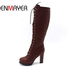 ENMAYER Winter Boots Shoes Woman High Quality Sexy Women Thigh High Boots  Lace Up Knee Boot High Heel Retro Knight Boots-in Knee-High Boots from Shoes  on ... ab76621a384b