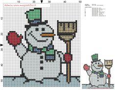 Small Snowman cross stitch pattern free 50x51 stitches - free ...