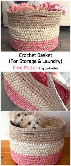 Besten stricken : Crochet Storage Basket For Laundry - Free Pattern Crochet Home, Knit Or Crochet, Crochet Gifts, Easy Crochet, Crochet Baby, Free Crochet, Crochet Rugs, Crochet Basket Pattern, Crochet Patterns