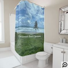 Cattlewash Beach, Barbados shower curtain. Can also be used as a photo backdrop. Keep or remove text.
