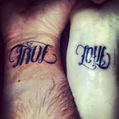 "Ambigram tattoo ""true love "" for me and the hubs (maybe in white ink?)"