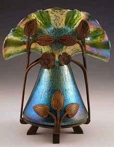 Loetz  Irridescent glass vase with bronze floral Art Nouveau mount  Austria  c.1905