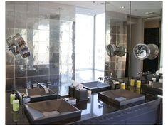 Bathroom Vanity Top in Black Absolute Granite 2 inch Mitered Edge Polished finish. Bathroom Walls in Metal, Alumenia Series Aluminum Mirror Finish. Master Bath Vanity, Bathroom Vanity Tops, Bath Vanities, Master Bathroom, Union Square Nyc, Granite Vanity Tops, Tile, Interior Design, Tiny House