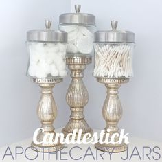 DIY silver metallic painted Candlestick with Jars for glamourous bathroom storage.