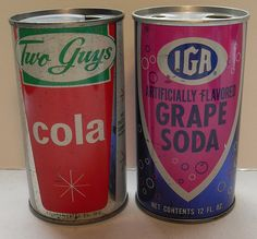 Two Guys Department Store Cola and IGA Supermarket Grape Soda Vintage Cans 1960s