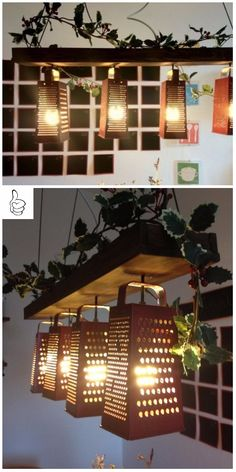DIY Ideas and Ways to Recycle Kitchen Stuff -- Recycled Grater Lamp Shade & Chandelier