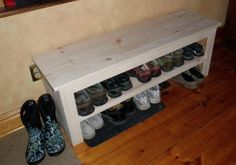 Smart DIY Shoe Rack Ideas for Your Home Tags: build shoe rack ideas, diy shoe rack plans, diy shoe rack bench plans, diy shoe rack ideas, build a shoe rack plans Shoe Storage Bench Diy, Shoe Rack Bench, Diy Shoe Rack, Storage Bench Seating, Cheap Storage, Shoe Racks, Homemade Shoe Rack, Shoe Storage By Front Door, Shoe Shelf Diy