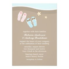 "His and Hers Flip Flops Beach Wedding 5"" X 7"" Invitation Card"