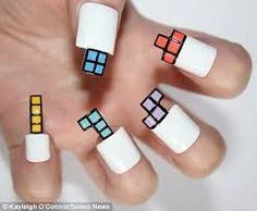 Tetris Nails. #GIRLYGAMER!