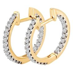 3/8 CTW Inside Outside Diamond Huggie Hoop Earrings in 14K Yellow Gold #hoopearrings #style #jewelry