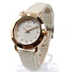 FW956B White Dial White Band Rose Gold Tone Watchcase Ladies Women Fashion Watch