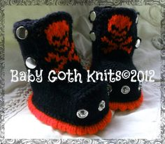 BABY GOTH KNITS© Knitted SKULL boots MADE TO ORDER !! | eBay