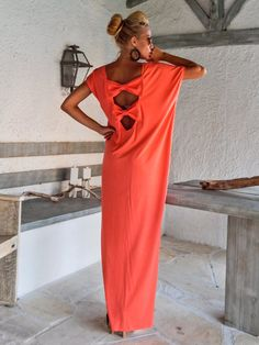 Coral Open Back Bow Maxi Dress Kaftan / Asymmetric Open Back Bow Dress / Oversize Loose Dress / #35084  This elegant, sophisticated, loose and