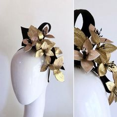 VINE LOVE is a Gorgeous  vine of leather blossom and leaves, snaking down over a ruffle of felt  secures easily with a slimline headband and comb for extra securing    metallic gold , rose gold and black ,