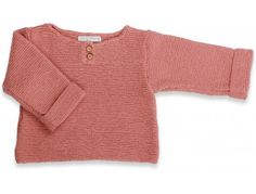 Granny's knitwear - Old pink hand knitted sweater for baby girls & toddlers made from wool cotton and cashmere - Mamy Factory