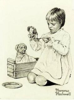 Girl Playing Doctor With Dog-Norman Rockwell (1894 – 1978, American)