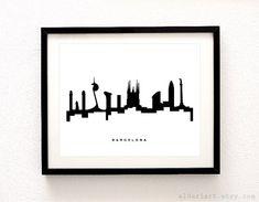 Skyline de Barcelona imprimir - Barcelona paisaje impresión - arte de la pared de Barcelona - Barcelona - decoración moderna - arte minimalista - Aldari Cartelismo