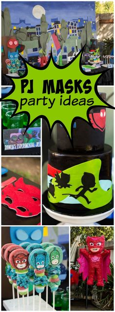 Check out this PJ Masks girl superhero party with mask favors! See more party ideas at CatchMyParty.com!