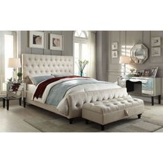 Celeste Beige Upholstered Bed
