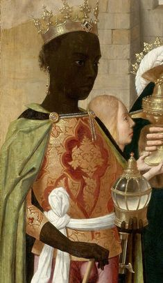 "medievalpoc: "" Geertgen tot Sint-Jans The Adoration of the Magi (detail) Netherlands (c. 1480) Oil on Panel,91.6 × 71.8 cm. Rijksmuseum, Amsterdam """