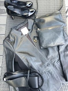 Leather jacket part Two, Clutches In Wear and high heels gabor