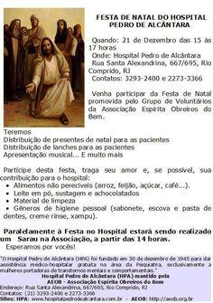 Associação Espírita Obreiros do Bem Convida para a Festa de Natal do Hospital Pedro de Alcântara – Laranjeiras – RJ - http://www.agendaespiritabrasil.com.br/2015/12/17/17653/