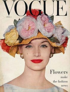 This Vogue cover reproduction features a floral covered hat perfect for the Spring and Easter season. Inspired by the cover of Vogue April Vogue Magazine Covers, Fashion Magazine Cover, Fashion Cover, Look Vintage, Vintage Mode, Vintage Hats, Vintage Floral, Arte Fashion, Editorial Fashion