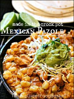 Mexican Pazole ~ Pozole pronounced (poh-SOH-leh) is a Mexican style soup made with hominy, chilies, garlic, pork or sometimes chicken, and fresh cilantro!!