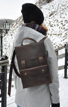 Handmade Leather Backpack Rucksack Travel Bag By Leathergoodsua