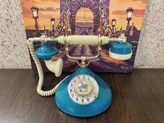 USSR vintage phone, Ufa model, Soviet phone, Dial telephone, Stylish telephone, Turquoise phone, Soviet desk phone, Green phone, Retro phone Retro Phone, Vintage Phones, Mark Price, Vintage Pocket Watch, Telephone, Landline Phone, Clear Acrylic, Model, Ring Ring