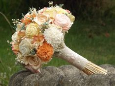Sola Bride Bouquet with Dried Flower Accents Custom Colors Welcome on Etsy, $95.00