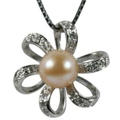 "Morning Bloom Peach Pink Cultured Pearl Cubic Zirconia Platinum Overlay CAREFREE Sterling Silver Pendant Necklace 18"" Dahlia. $51.95"