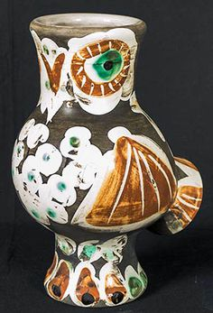 Picasso Ceramic Madoura Sculpture Signed, Wood-Owl, 1968