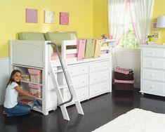 Maxtrix Kids Furniture - Girls Bedroom Furniture, can change height, add slide, shelves, dressers, castle/tent
